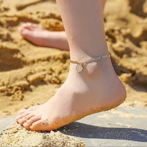 14K Gold Filled Initial Layered Ankle Brac…